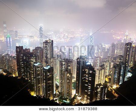 Hong Kong island from Victoria's Peak at night