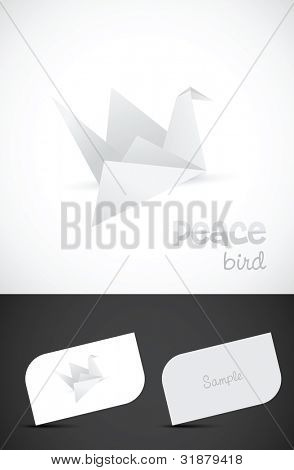 Vector origami paper bird icon and business card templates