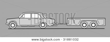 car with trailor on gray  background