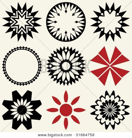 abstract floral icons, vector design elements