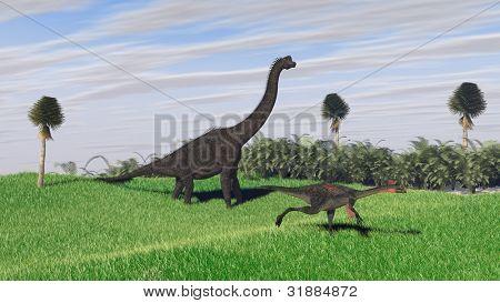 gigantoraptor and brachiosaurus in jungle