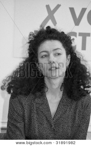 LONDON - MARCH 19: Lorna Reith, Chief Executive of the Disability Alliance, speaks at the manifesto launch of the Democratic Left party on March 19, 1992 in London, England.