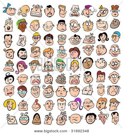 People face expression doodle cartoon icons, happy characters art