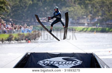 MELBOURNE, AUSTRALIA - MARCH 11: Unknown skier in the jump event at the Moomba Masters on March 11, 2012 in Melbourne, Australia
