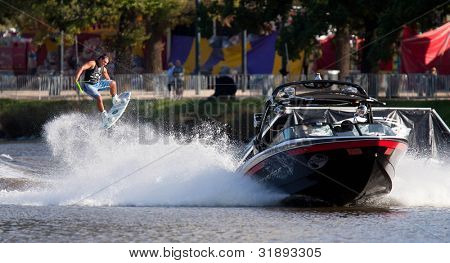MELBOURNE, AUSTRALIA - MARCH 12: Bradley Teunissen in the wakeboard  event at the Moomba Masters on March 12, 2012 in Melbourne, Australia