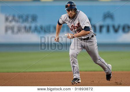 LOS ANGELES - JUNE 20: Detroit Tigers 2B Ryan Raburn #25 during the Major League Baseball game on June 20 2011 at Dodger Stadium in Los Angeles.