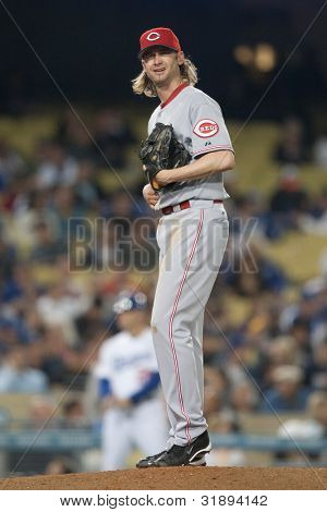 LOS ANGELES - JUNE 13: Cincinnati Reds starting pitcher Bronson Arroyo #61 during the Major League Baseball game on June 13 2011 at Dodger Stadium in Los Angeles.