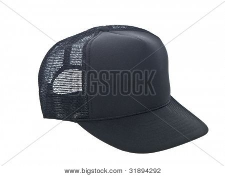 black baseball hat isolated on white