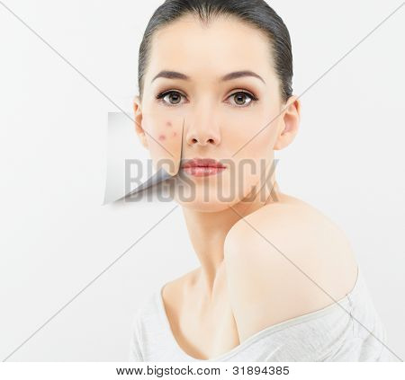 a beauty girl on the grey background