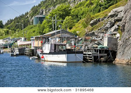 Fishing boats and fishing shacks in Quidi Vidi, outside of St. John's, Newfoundland.