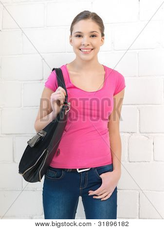 bright indoors picture of calm teenage girl
