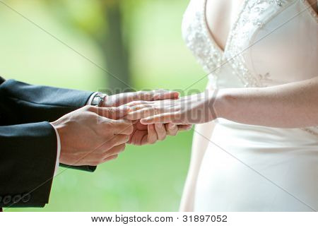 a man putting the wedding ring on his brides finger during a ceremony