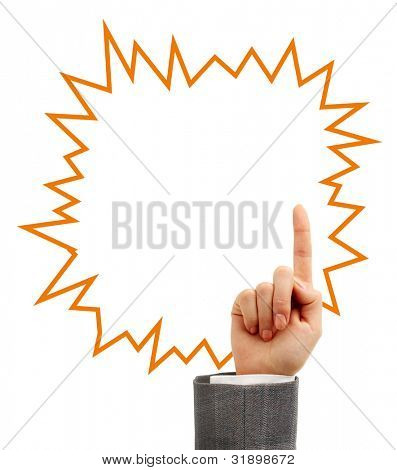 Female hand pointing up with a speech bubble isolated on white background