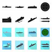 Vector Illustration Of War And Ship Symbol. Collection Of War And Fleet Stock Vector Illustration. poster