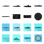 Vector Design Of War And Ship Logo. Collection Of War And Fleet Stock Symbol For Web. poster
