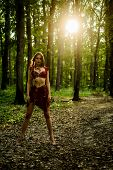 Wilderness Of Virgin Woods. Wild Attractive Woman In Forest. Folklore Character. Living Wild Life Un poster