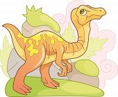 Cartoon Cute Prehistoric Dinosaur Gallimimus, Funny Illustration poster