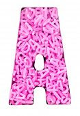 Capital letter A  made up  with 100,s of candy pink  letters  poster