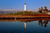 stock photo of long beach  - Lighthouse in the port of Long Beach California - JPG