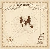 World Pirate Map. Ancient Style Navigation Atlas. Eisenlohr Conformal Projection. Old Map Vector. poster