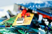 Electronic industry devices waste  recycling poster