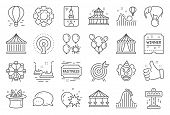 Amusement Park Line Icons. Set Of Carousel, Roller Coaster And Circus Icons. Air Balloon, Crane Claw poster