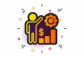 Work Results Sign. Halftone Circles Pattern. Employees Wealth Icon. Money Chart Symbol. Classic Flat poster