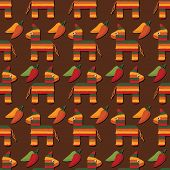 pic of pinata  - seamless pattern of mexican pinatas and chili peppers with clipping path - JPG