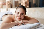 Beautiful Woman In Spa Salon Having Body Relaxing Massage. Body Care. Spa. Woman Having Massage In T poster