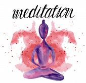 Watercolor Yoga Lettering Design. Figure Of A Girl Practicing Yoga On A Colored Background With The  poster