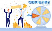 Men Congratulations Winning Lottery Priz Jackpot. From Poverty To Wealth. Achive Goal. Vector Illust poster