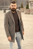 Urban Fashion. Stylish Casual Outfit Spring Season. Menswear And Male Fashion Concept. Man Bearded H poster