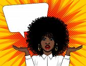 Vector Pop Art Illustration Surprised Woman Face With Open Mouth And Hands Up. African American Woma poster
