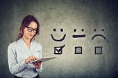 Customer Experience Concept. Happy Business Woman Giving Excellent Rating For Online Satisfaction Su poster