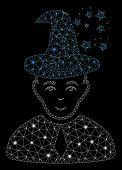 Flare Mesh Magic Master With Glare Effect. Abstract Illuminated Model Of Magic Master Icon. Shiny Wi poster