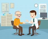 Doctor Examining Old Patient.doctor Talking With Elderly Patient About Symptoms Adult Patient Visiti poster