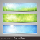 nature bokeh banners - three soft seasonal banners with grass and blue sky