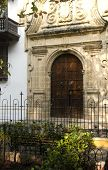 stock photo of inquisition  - historical architecture entry Palace of the Inquisition Museum Historical of Cartagena de Indias Colombia at Bolivar Park - JPG
