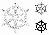 Mesh Ship Wheel Model With Triangle Mosaic Icon. Wire Carcass Triangular Network Of Ship Wheel. Vect poster
