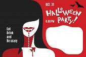 Silhouette Woman In Halloween Vampire Costume On Party. Girl With Cocktail. Halloween Party Invitati poster