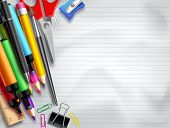Back To School Vector Background Template With Education Elements, School Supplies And Empty White S poster