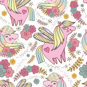 Children S Seamless Vector Pattern. Cute, Happy Pink Ponies Among Stars And Flowers On White Backgro poster