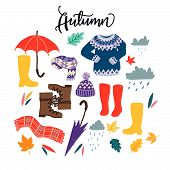 Set Of Flat Style Clothing Images For Autumn Wardrobe. Cartoon Multicolored Objects For Rainy Fall W poster