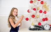 Spread Christmas Cheer. Kid Cheerful Excited About New Year Coming. Family Holiday Concept. Small Gi poster