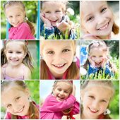 foto of cute little girl  - set of different photos of smiling little girl - JPG