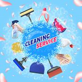 Detergent For Home. Logo Cleaning Service. Means For Cleaning Apartment. Bast In Hand. Clean House.  poster