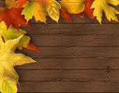 Autumn Background. Falling Leaves On Dark Wooden Background. Place For Text. Great For Party Invitat poster