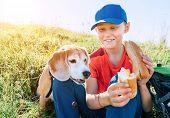 Little Smiling Boy Weared Baseball Cap Sharing A Huge Baguette Sandwich With His Beagle Dog Friend D poster