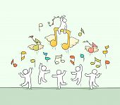 Sketch Of Crowd Little People With Flying Notes. Doodle Cute Miniature Scene About Music. Hand Drawn poster