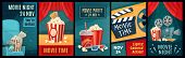Cinema Poster. Night Film Movies, Popcorn And Retro Movie Posters Template. Cinematograph Advertisin poster